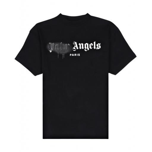 Palm Angels Paris Sprayed Black Logo Tee